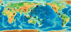 Carte des volcans dans le monde